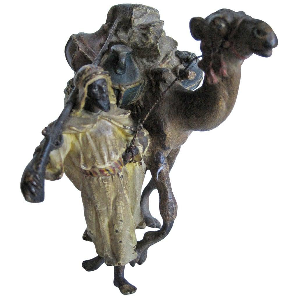 Franz Xaver Bergman Sculpture, Bronze Arab and Camel, Cold-Painted