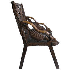 Folk Art Chair, Signed and Heavily Carved, circa 1900