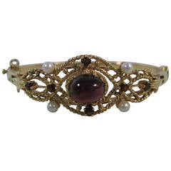Yellow Gold Garnet and Pearl Lady's Hand-Assembled Bangle Bracelet