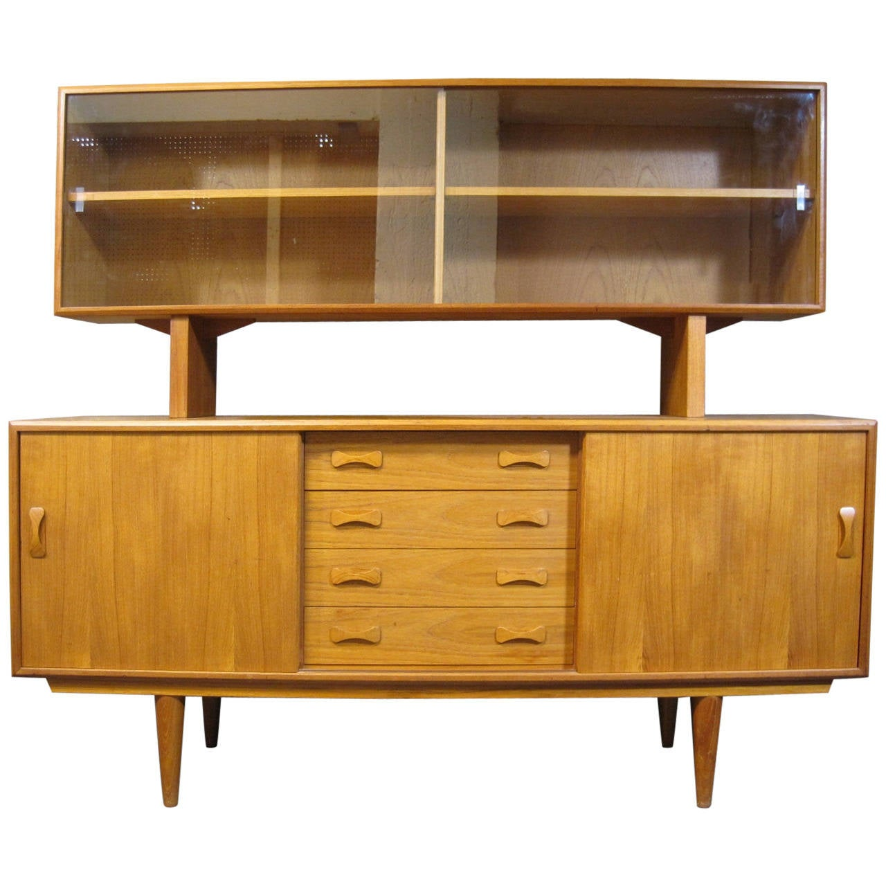Clausen Son Danish Teak Buffet And Hutch Scandinavian Modern 1