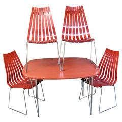 """Hans Brattrud """"Scandia"""" Dining Table and Chairs, Mid-Century Modern"""