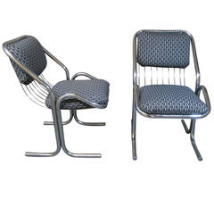 Two Mid-Century Modern Chrome Chairs