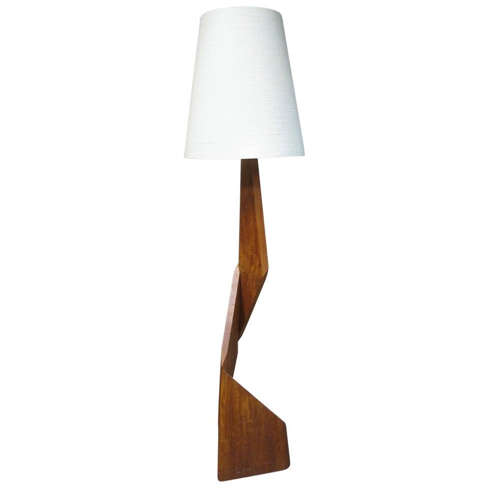 sculptural teak floor lamp mid century modern at 1stdibs. Black Bedroom Furniture Sets. Home Design Ideas