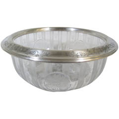 Shreve & Company American Sterling Silver and Etched Glass Bowl