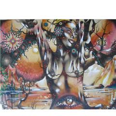 "Philip Stone, ""North Troll"" Mixed Media Painting"