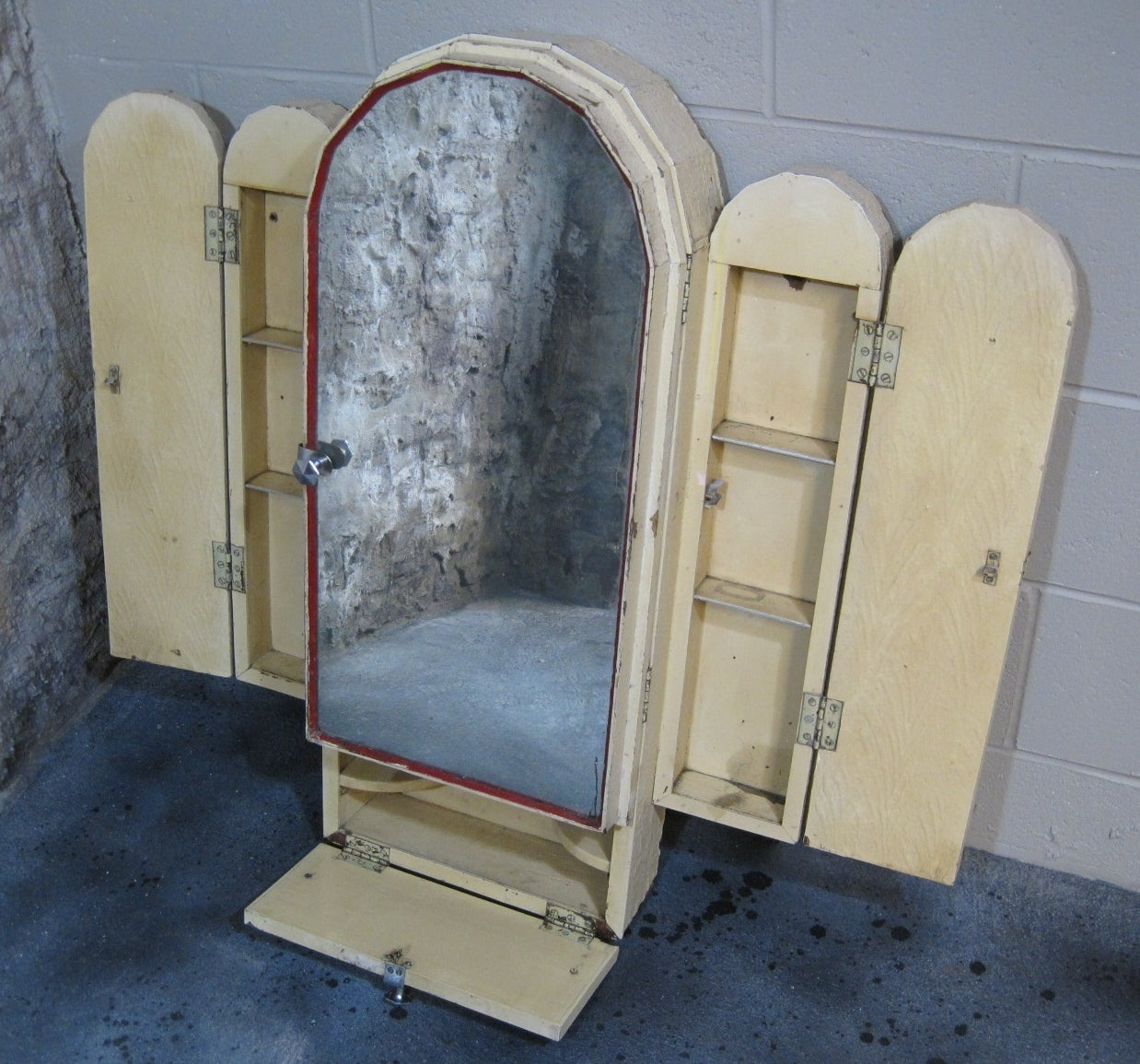 this art deco red cross medicine cabinet and mirror is no longer