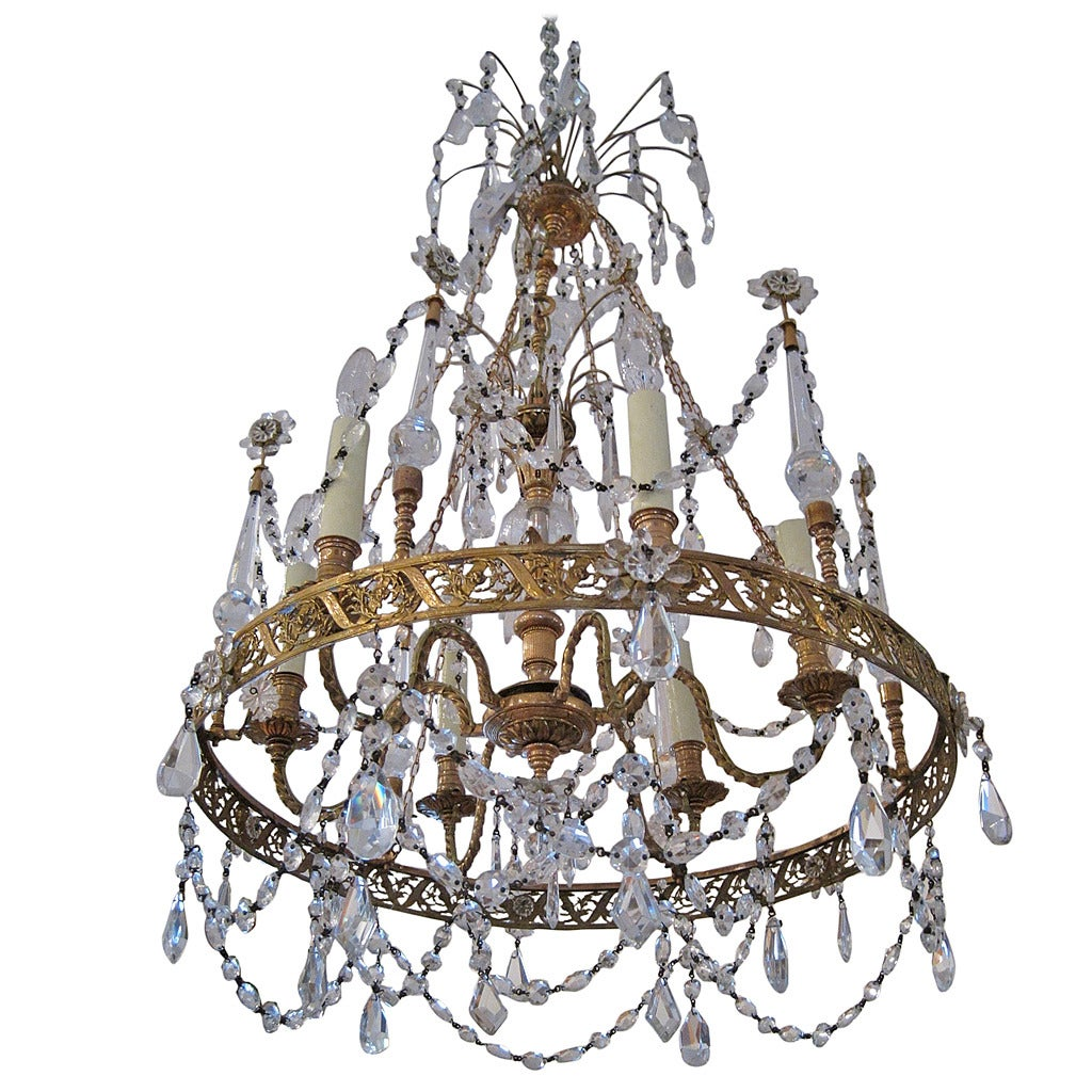 Swedish Gustavian Chandelier In Crystal And Bronze
