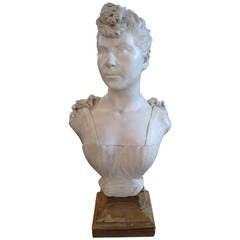 19th Century Art Nouveau Marble Bust Sculpture