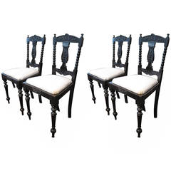 Ceylonese Ebony Wood Dining Chairs, Anglo-Indian