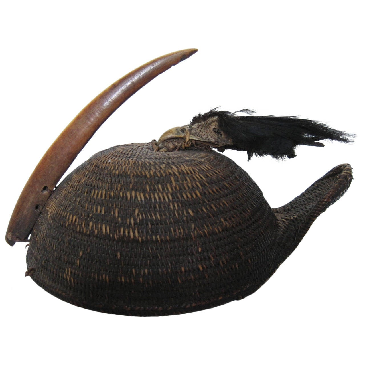 Indian Nyishi Warrior Hornbill Tribal Hat, circa 1890 For Sale