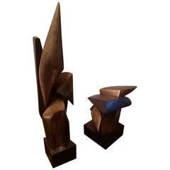 Two Karoly Veress Abstract Bronze Sculptures