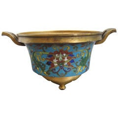 Chinese Gilt Bronze Cloisonne Tripod Censer with Xuande Mark