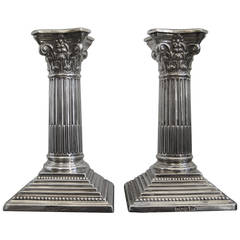 19th Century Corinthian Sterling Silver Candlesticks, Neoclassical Revival