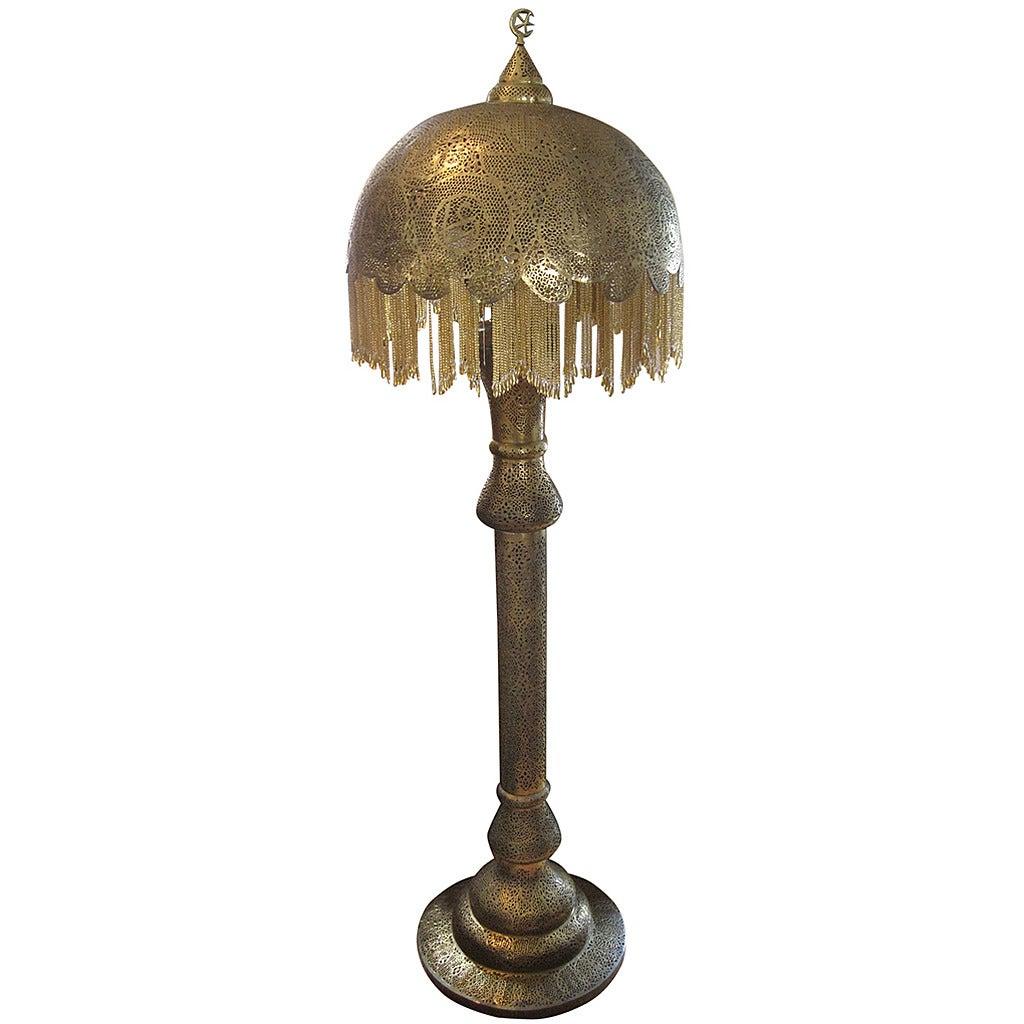 Middle eastern reticulated floor lamp moorish revival at for Pierced metal floor lamp