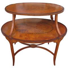 Edwardian Etagere Satinwood and Walnut Inlaid Table