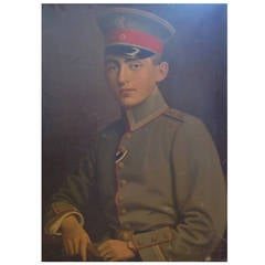Oil on Canvas Painting, WWI German Military Officer, Signed Schultis