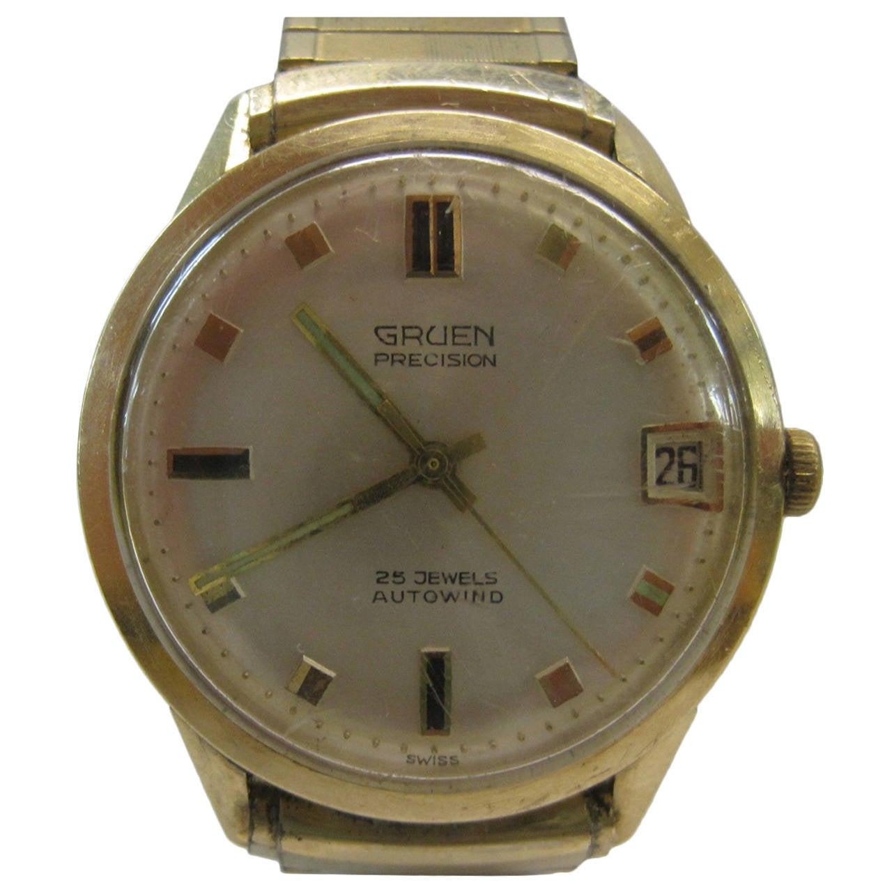gruen precision watch 14 karat gold at 1stdibs. Black Bedroom Furniture Sets. Home Design Ideas