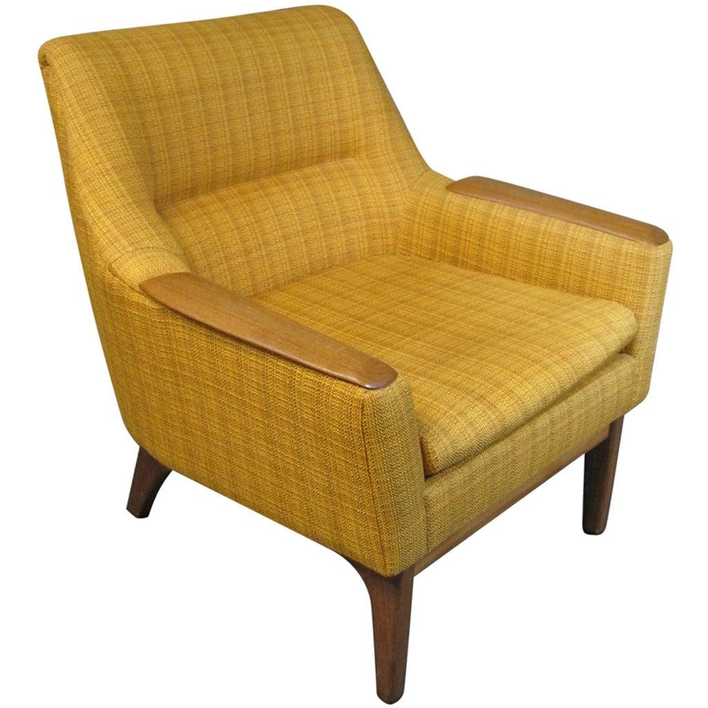 Mid century modern teak armchair at 1stdibs for Mid century modern armchairs