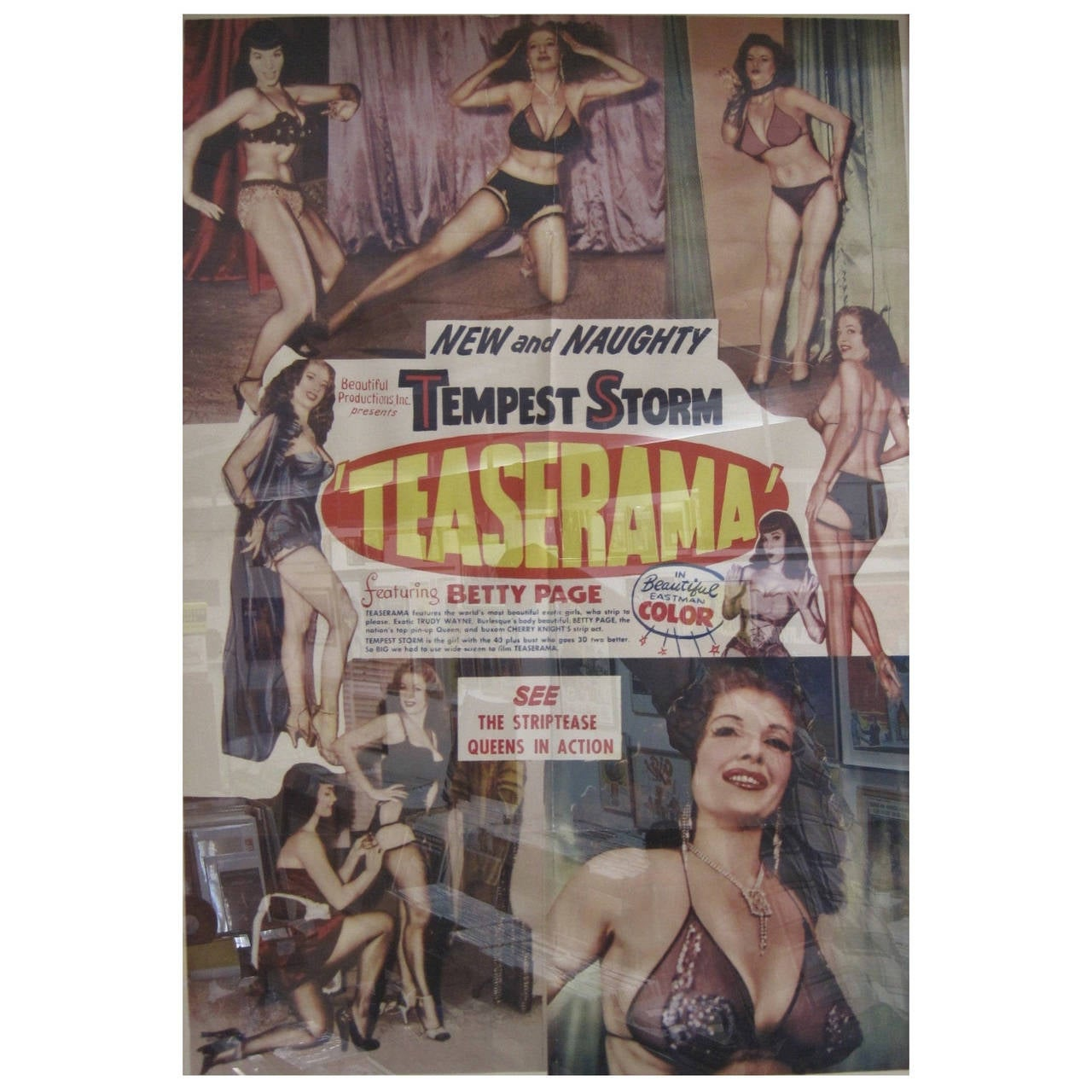 """""""Teaserama"""" Betty Page & Tempest Storm, Burlesque Poster"""