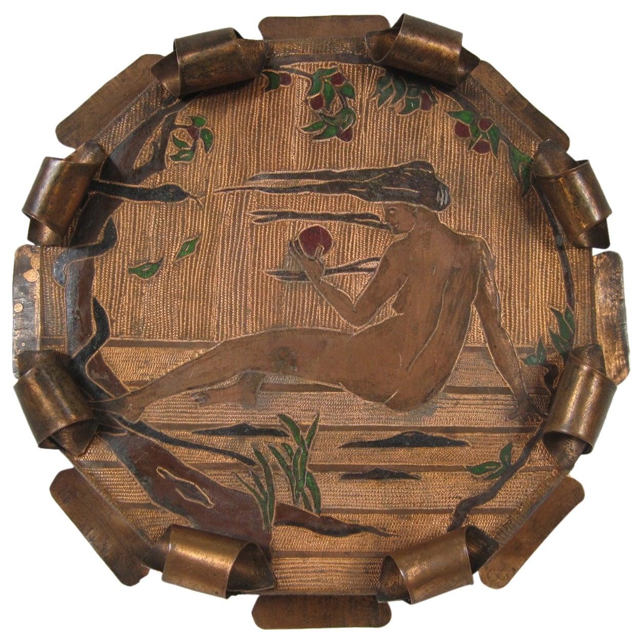 Arts & Crafts Metalware Centerpiece Folk Art Stand