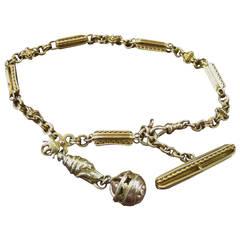 19th Century 14-Karat Gold Watch Fob Chain and Pendants