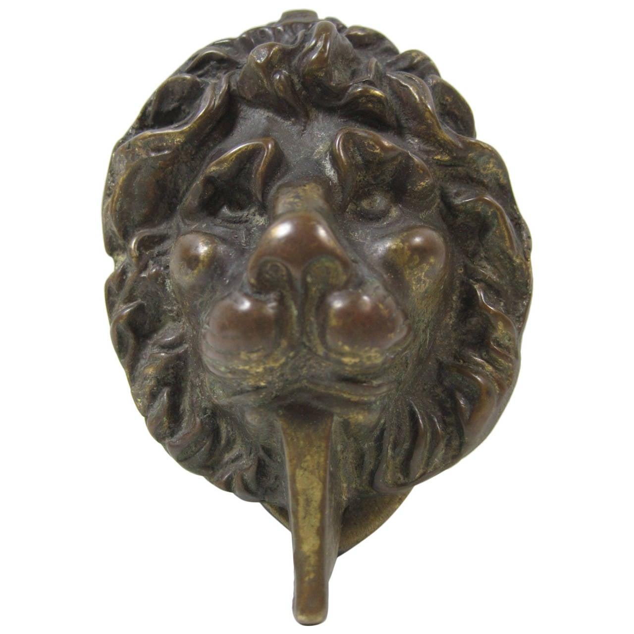Bronze lion head door knocker at 1stdibs - Lion face door knocker ...