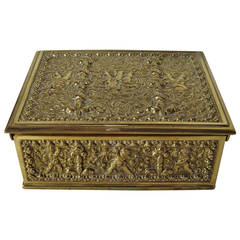 Erhard & Sons Art Nouveau Brass Repousse Tobacco or Jewelry Box