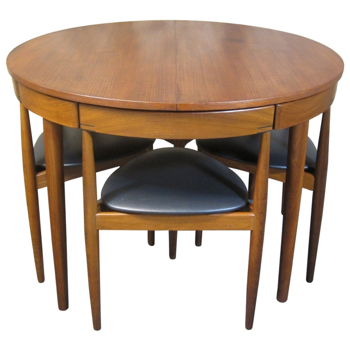 Hans olsen for frem rojle teak dining table and chairs for Mid century modern dining table