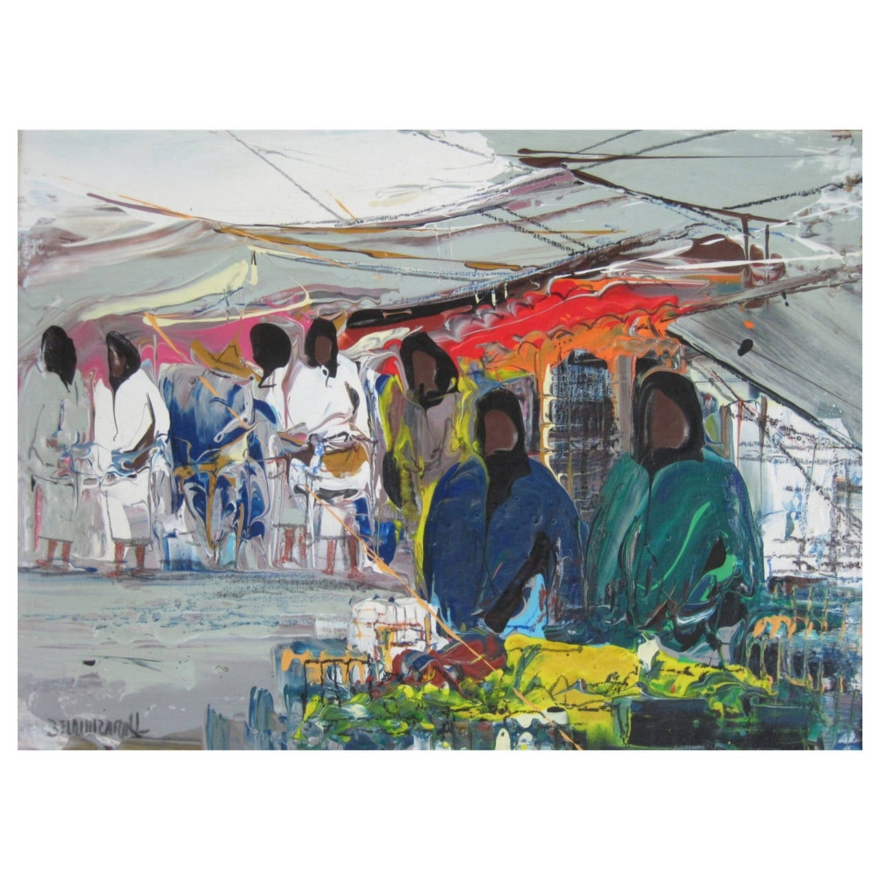 "Leon Belaunzaran Painting ""El Mercado"" Oil on Canvas"