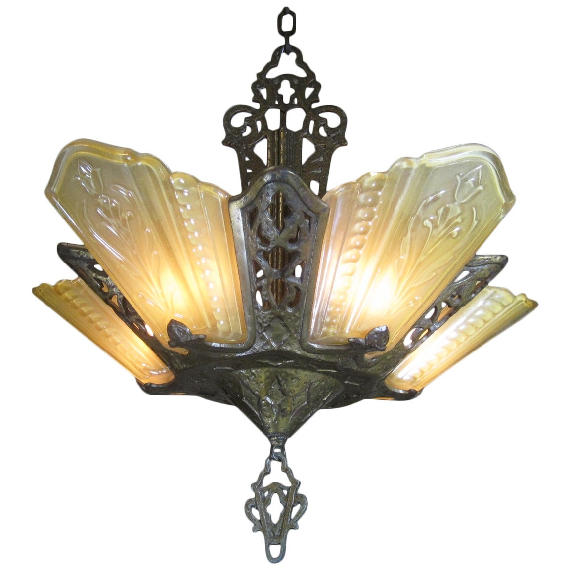 Art Deco Foyer Lighting : Slip shade chandelier art deco light for sale s