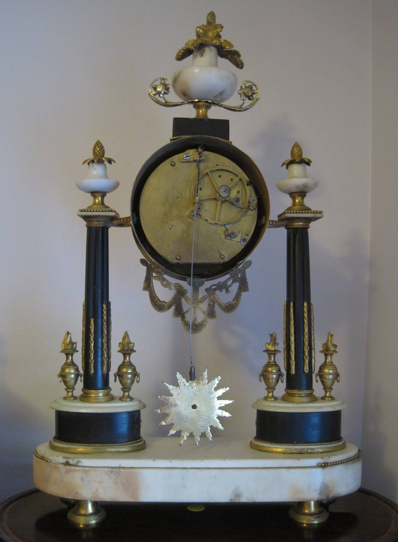 French Empire Period Marble and Ormolu Clock, Early 19th Century For Sale 7