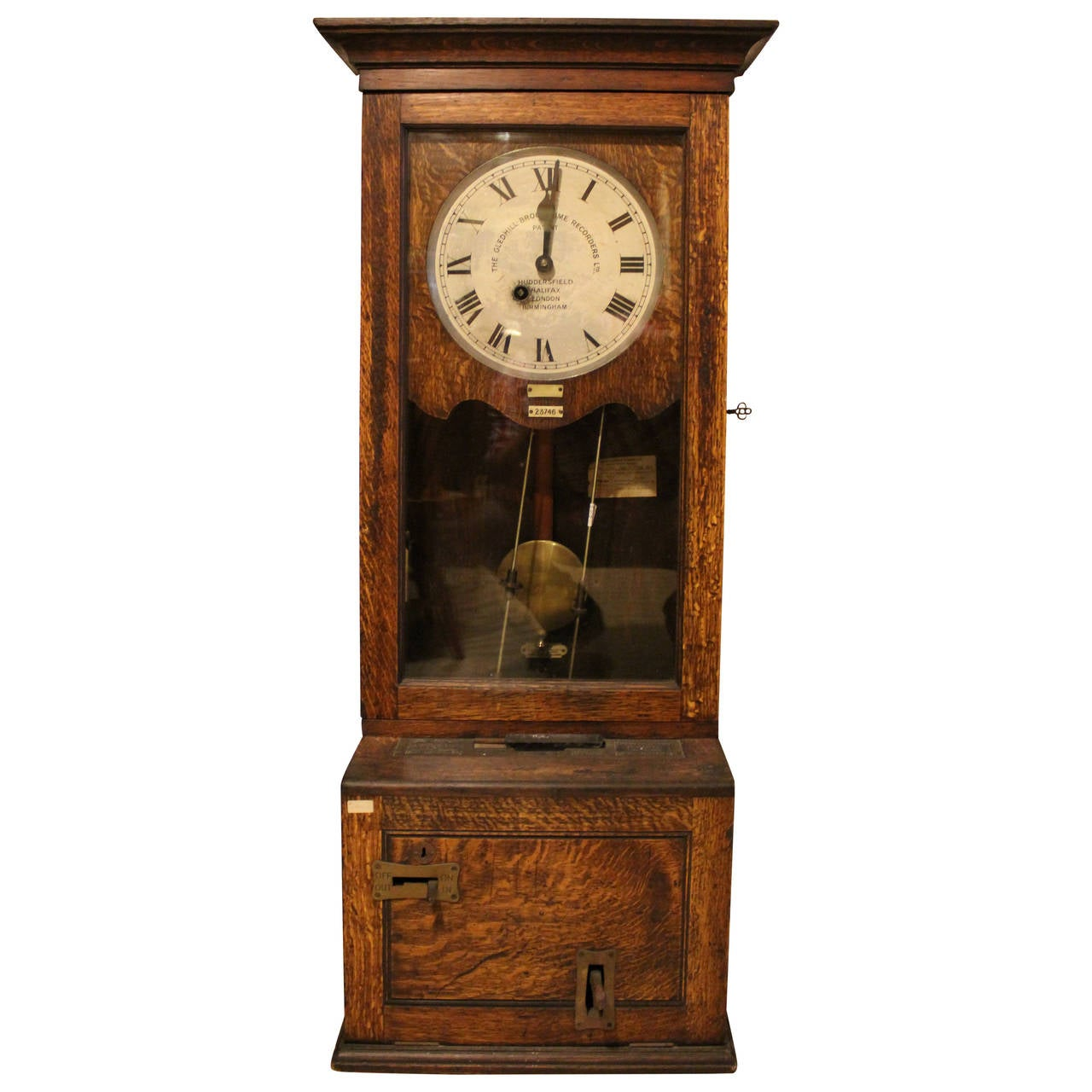 English Time Recorder Clock, Machine Age For Sale