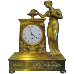 Early 19th Century French Empire Period Gilt Bronze Figural Clock
