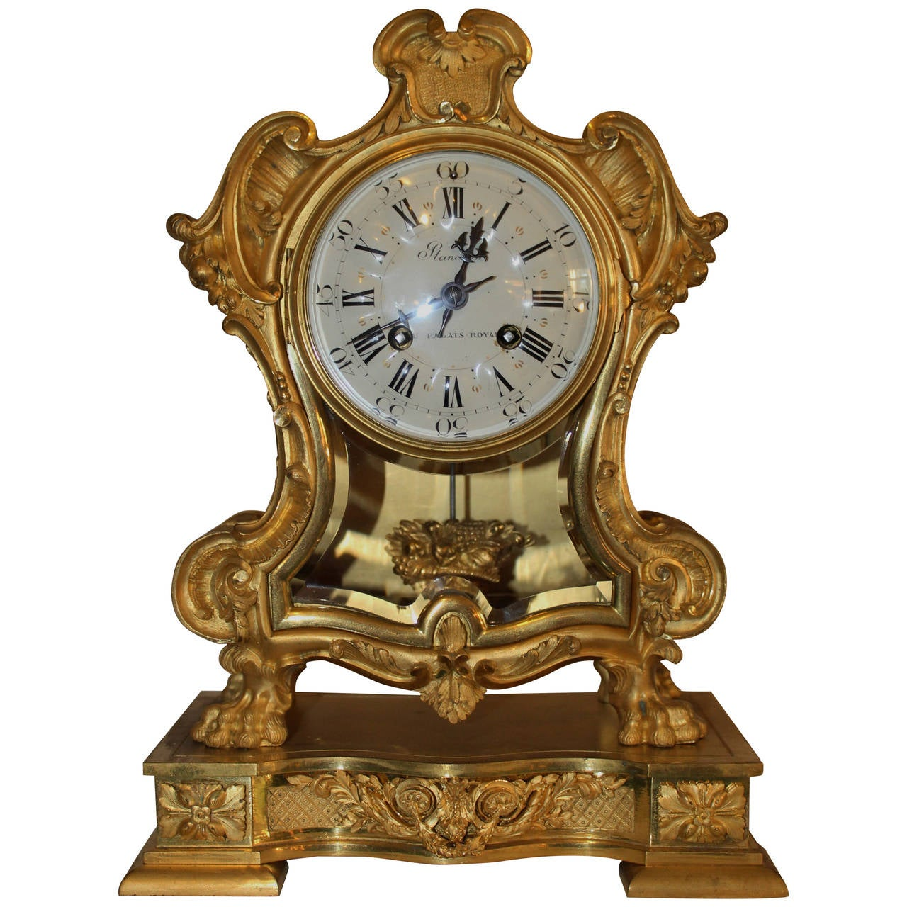 19th Century French Empire Style Fire Gilded Bronze Mantle Clock