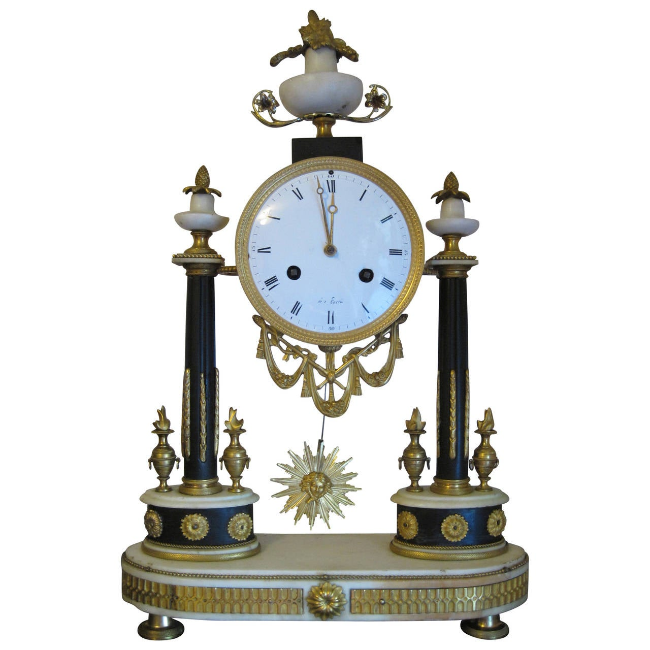 French Empire Period Marble and Ormolu Clock, Early 19th Century For Sale