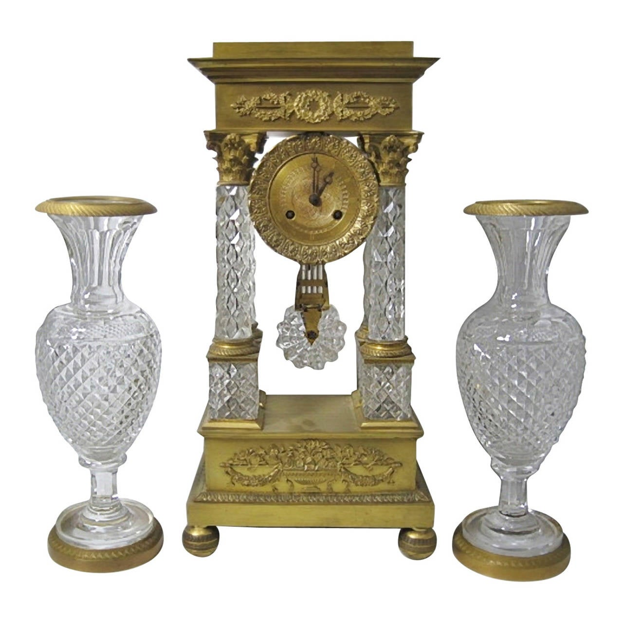 Baccarat Crystal Clock Garniture, French Empire With Gilt Bronze 1