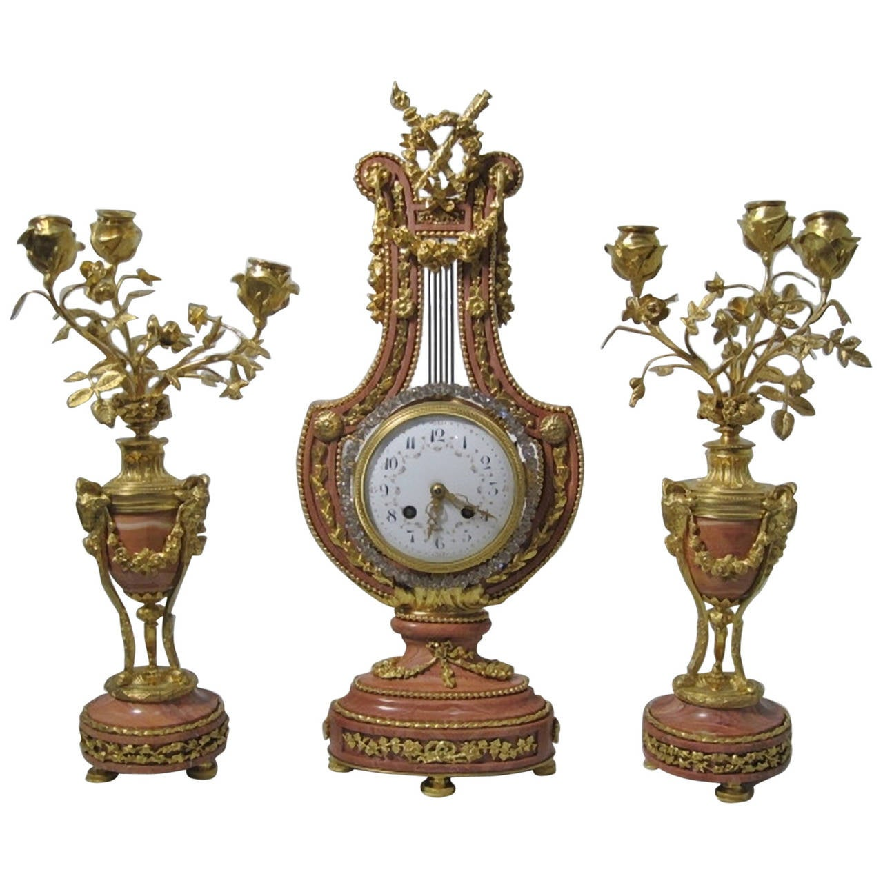 Lyre Form Clock Garniture, Louis XVI Manner, 19th Century