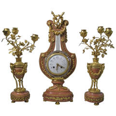 Lyre Form Clock Garniture, Louis XVI Manner, 19th Century