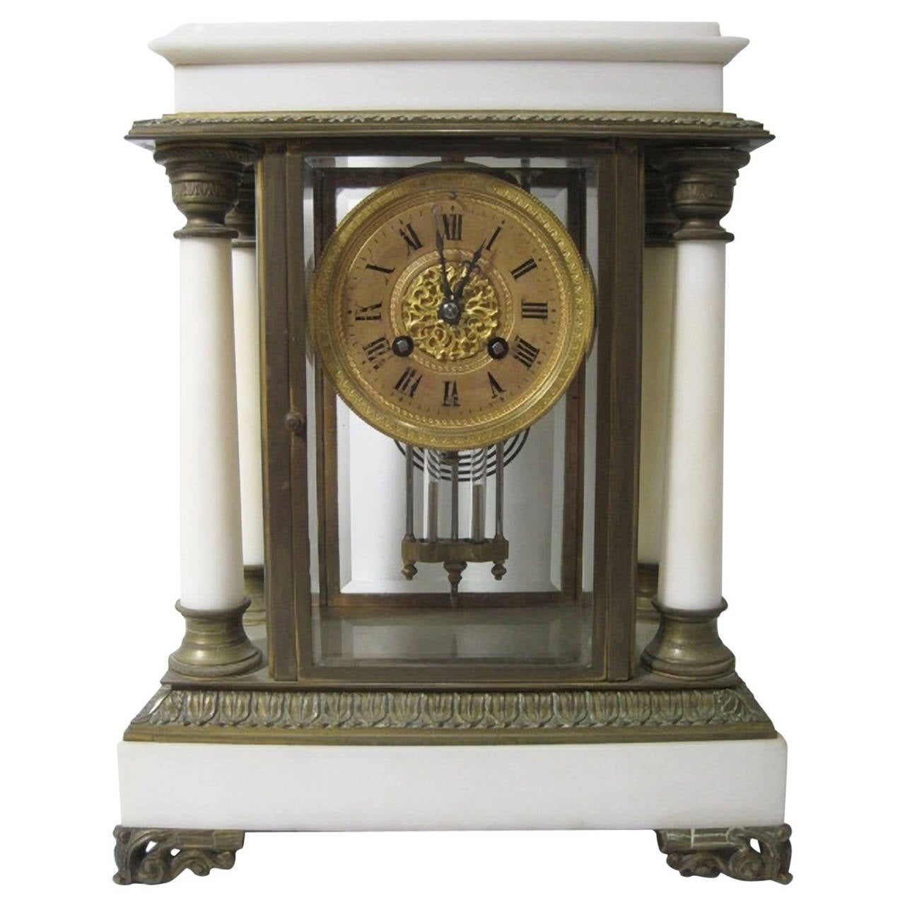 19th Century French Empire Style Portico Clock