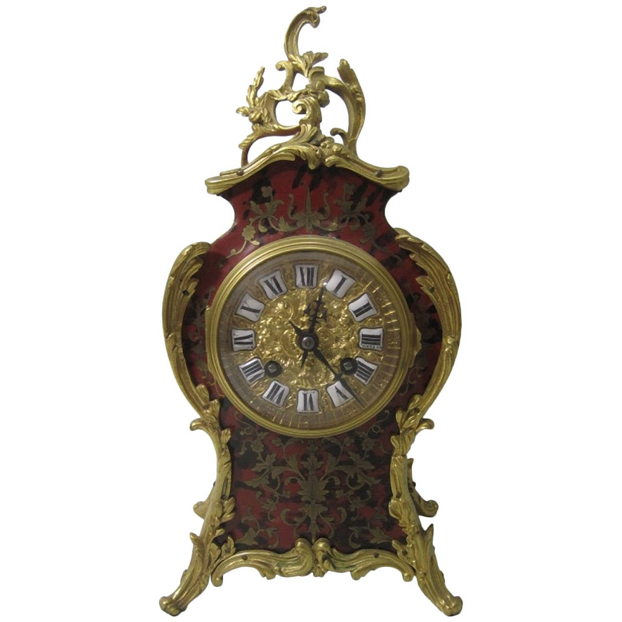 "19th Century French ""Boulle"" Mantel Clock, Louis XV Style"