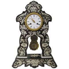 19th Century French Portico Clock with Bone Inlay