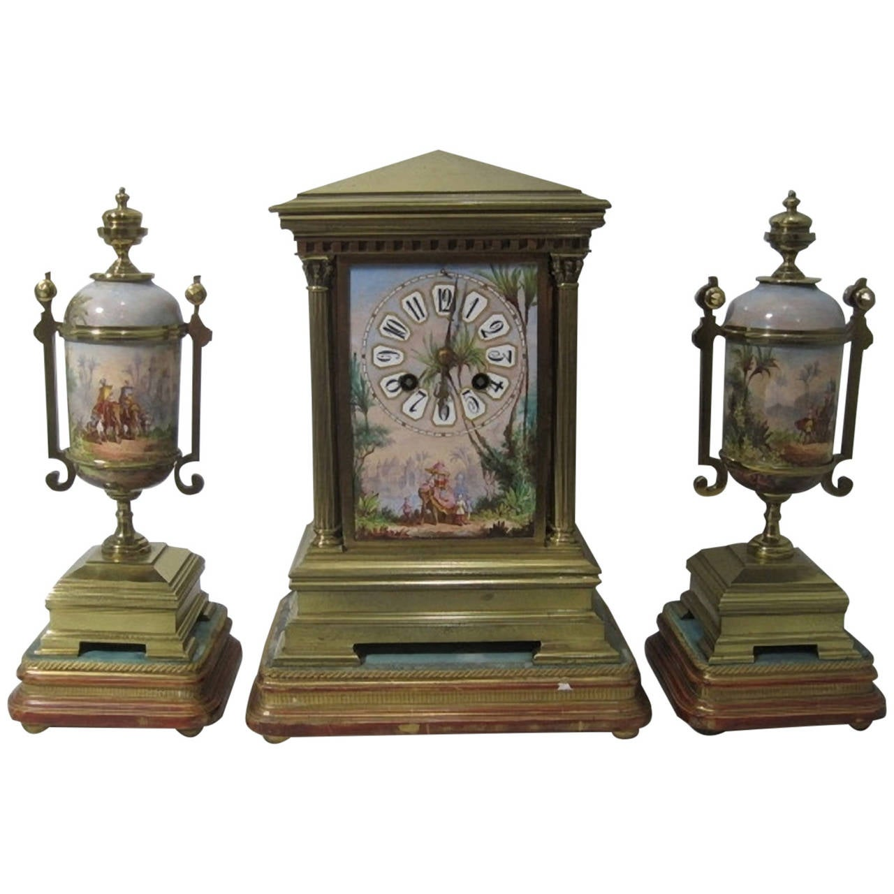 19th Century French Gilt Bronze and Porcelain Mantel Clock and Garniture