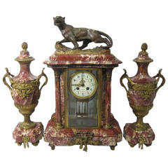 French Marble Clock and Garniture Set, Louis XVI Style