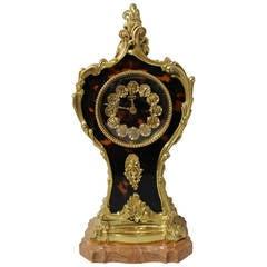 "Italian ""Boulle"" Style Boudoir Table Clock"
