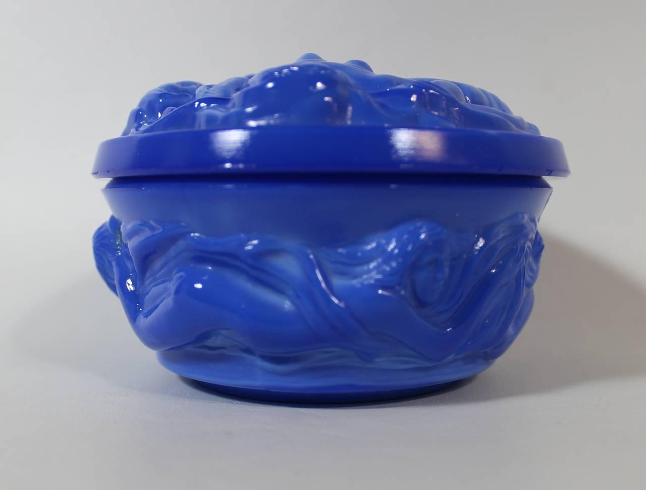 Art Deco Lapis Lazuli Czech Art Glass Nude Jewelry Or -5348