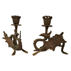 Art Deco Bronze Dragon Candle Holders