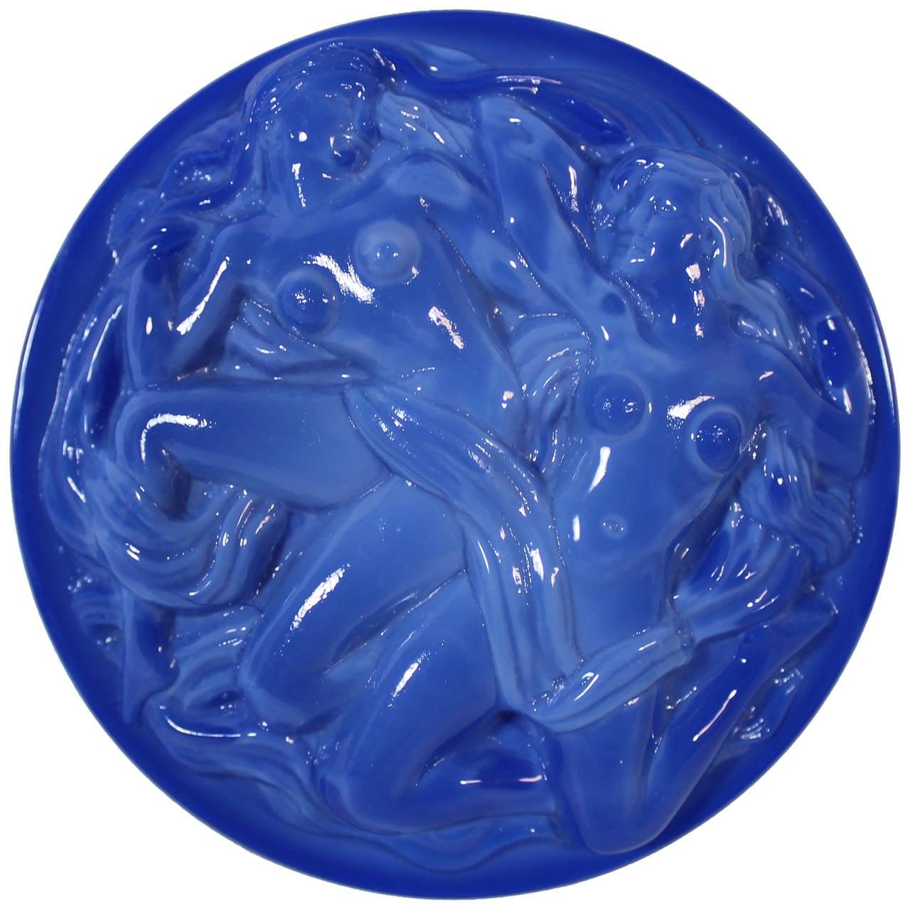 Art Deco Lapis Lazuli Czech Art Glass Nude Jewelry Or -4511