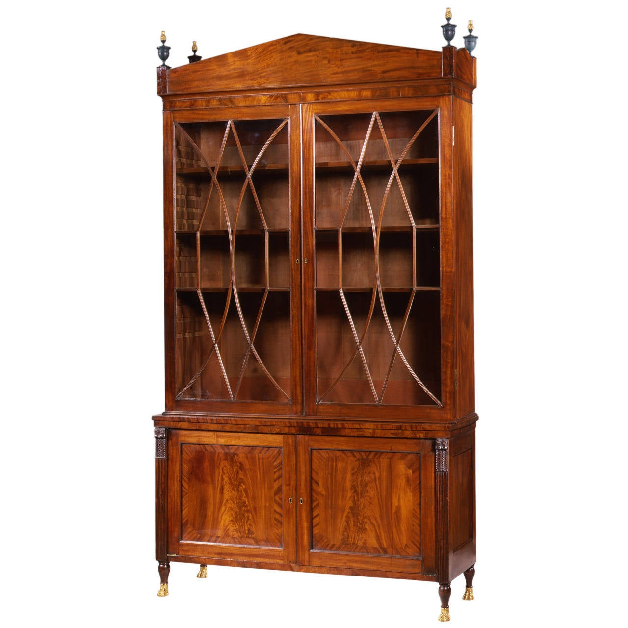 Federal Carved Mahogany Bookcase with Brass Paw Feet, circa 1805-1810 For Sale
