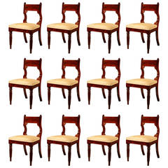 Set of 12 Mahogany Classical Dining Chairs, circa 1830