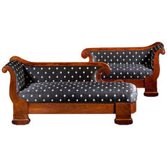 Pair of Restoration Rosewood Grecian Recamier Couches, circa 1835-1840